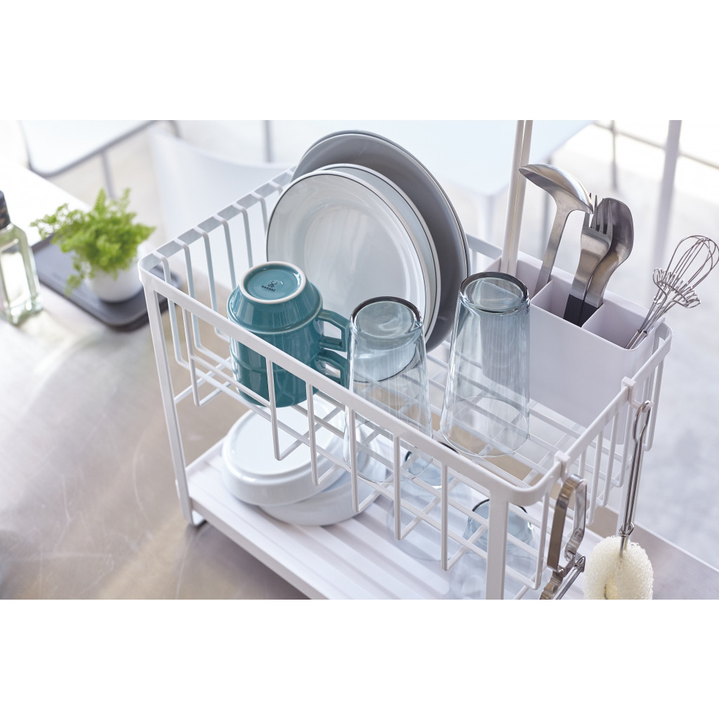 Dish Drainer 2 Levels Tower | White