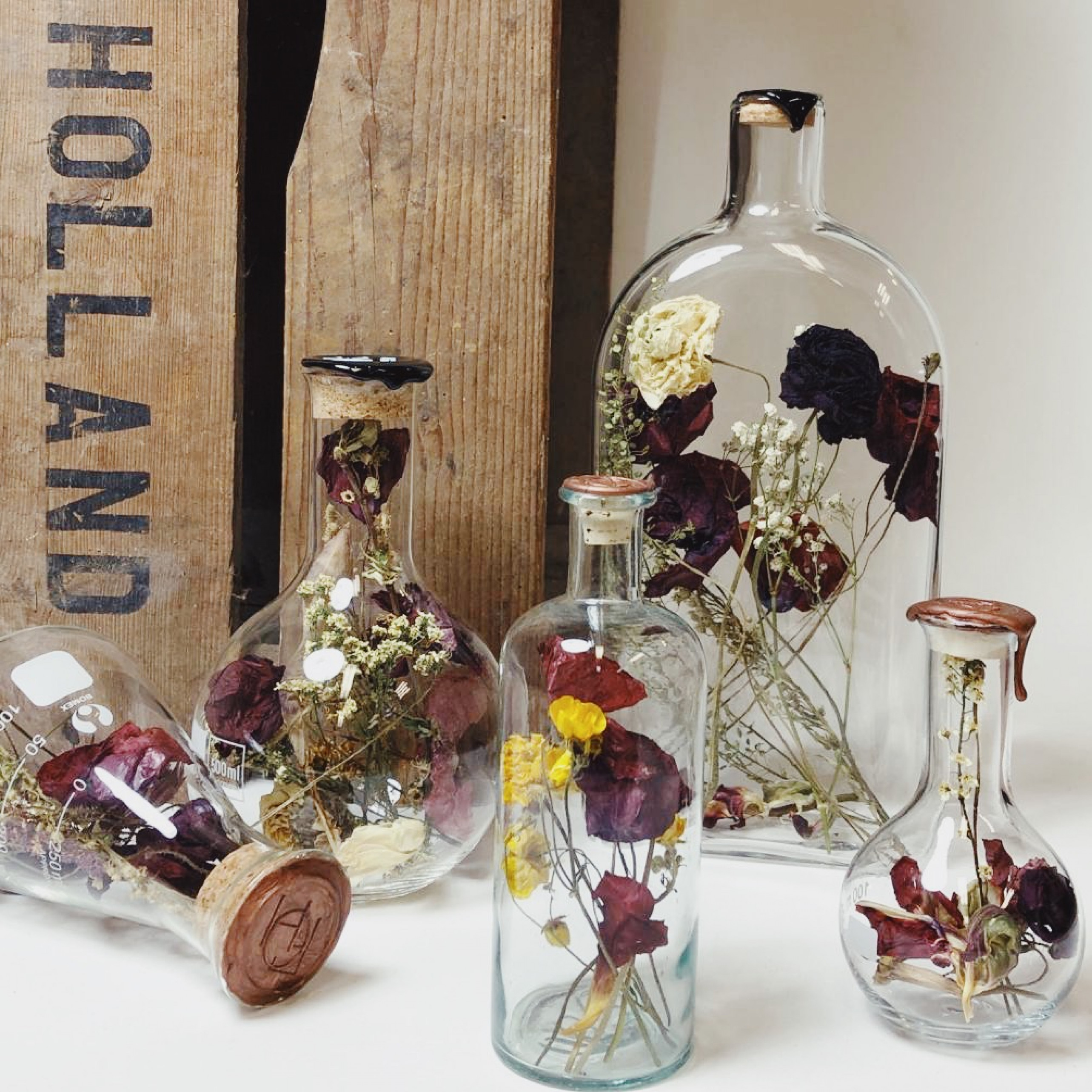 Bottle with Dried Flowers Large   Tama White