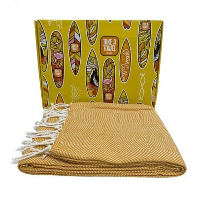Hamam-Tuch in Geschenkbox Take A Towel | Ockergelb