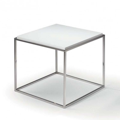 Lamina Side Table | Stainless Steel & Matrix White