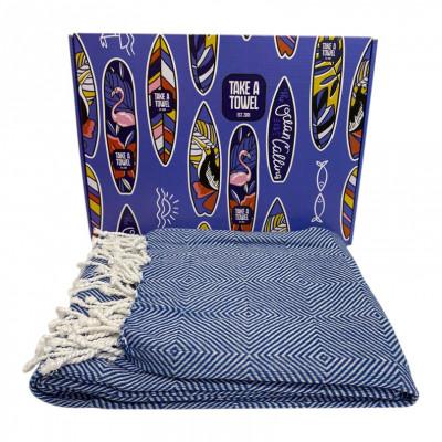 Hamam-Tuch in Geschenkbox Take A Towel | Blau