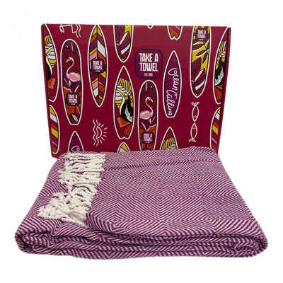 Hamam-Tuch in Geschenkbox Take A Towel | Magenta