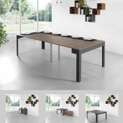 Ulisse Tisch mit 4 Erweiterungen | Ardesia & Walnuss