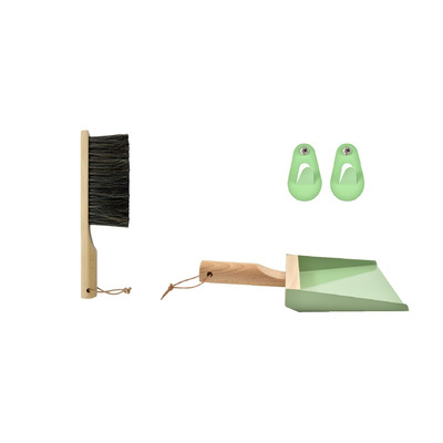 Set of Hand Brush & Dustpan & 2 Wall Hooks | Mr & Mrs Clynk | Sage Green