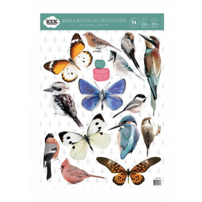 Wandaufkleber | Satz von 14 Aufklebern | Schmetterlinge & Vögel