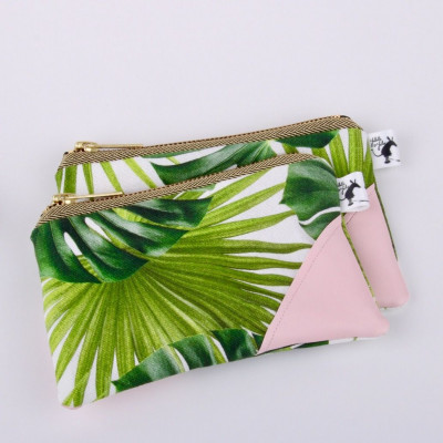 Clutch   Palm Leaves & Pastel Pink
