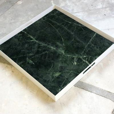 Tablett Quadratisch - Grüner Samt