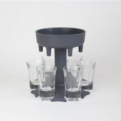 Dispenser Shotbuddy für 6 Gläser | Grau