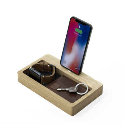 iPhone Dock with Organiser | Oak