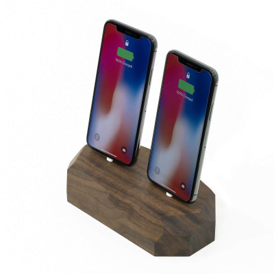 Dual iPhone Dock | Walnut