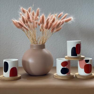 Mugs und Untersetzer Art   4er-Set