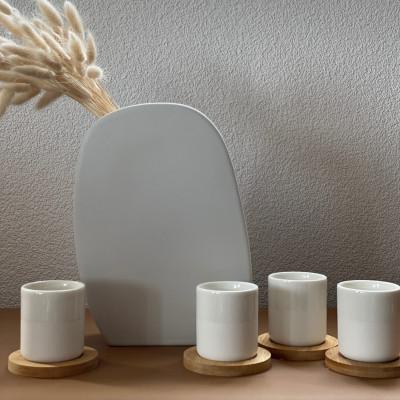 Mugs und Untersetzer Weiß | 4er-Set