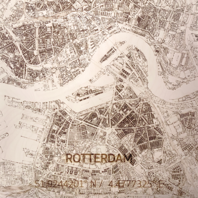 Holzwanddekoration | Stadtplan | Rotterdam