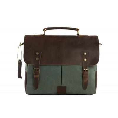 Messenger bag | Brown Leather & Green Canvas
