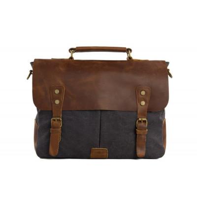 Messenger bag | Vintage Brown Leather & Blue Canvas