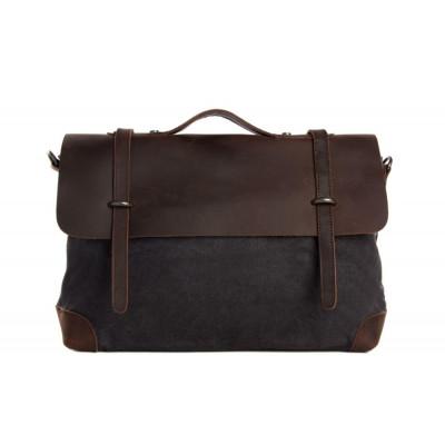 Messenger bag | Brown Leather & Blue Canvas