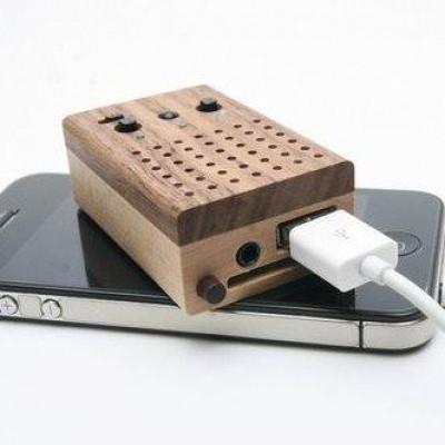 Winziger Power-Lautsprecher aus Holz (mit integriertem FM-Radio und Unterstützung für USB-Flash-Laufwerk/SD-Speicherkarte)