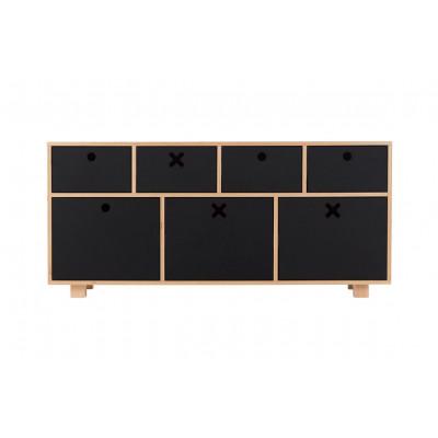 Sideboard Tief | Schwarz