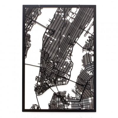 Map New York (Manhattan)   Black