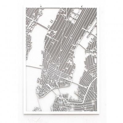 Map New York (Manhattan)   White