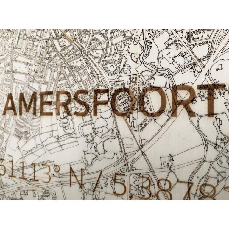 Wooden Wall Decoration   City Map   Amersfoort -70 x 50 cm
