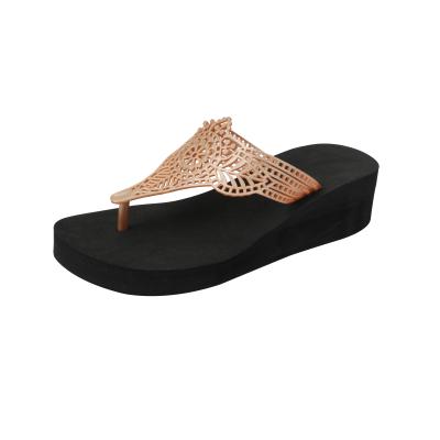 Wedge Slippers India | Black & Gold