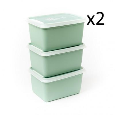 6er-Set Boxen Alaska 1000 ml   Minzgrün