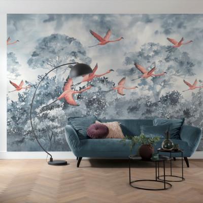 Wandbild Flamingos in the Sky | 400 x 280 cm