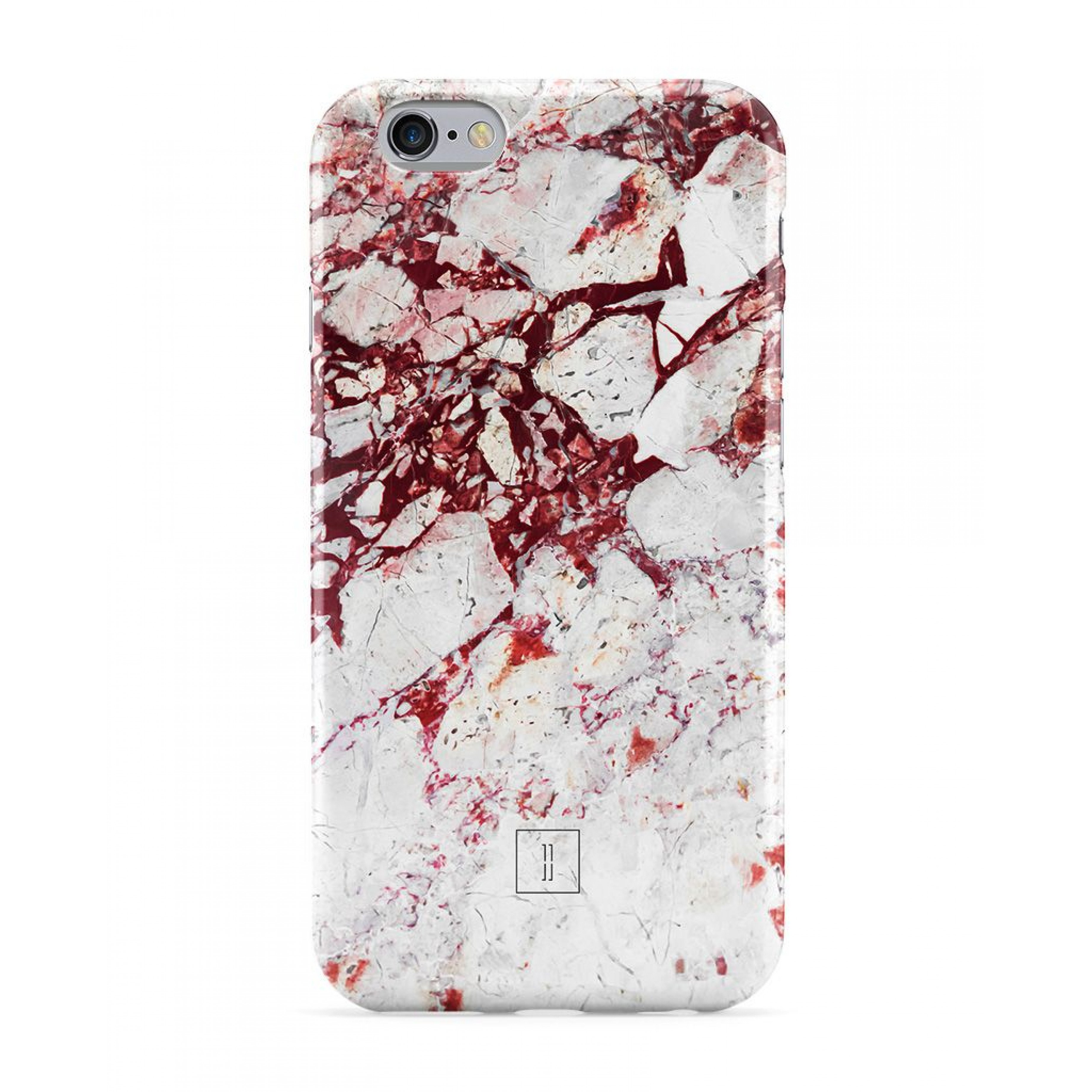 White and Red Marble Smartphone Case