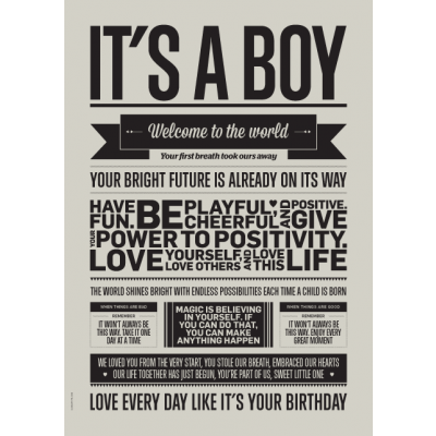Love Typography Poster | It's A Boy