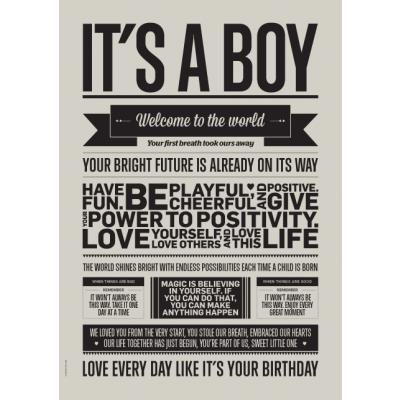 Liebe Typografie Poster | It's A Boy