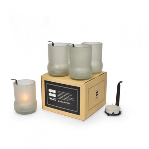 4er-Set Teelichthaltern mit Teelichtern   Mattweiß