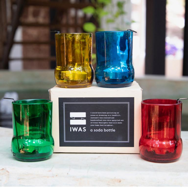 4er-Set Teelichthaltern mit Teelichtern   Farbig