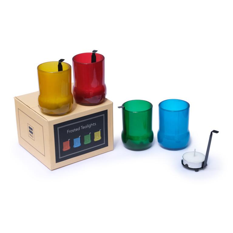 4er-Set Teelichthaltern mit Teelichtern | Farbig Gefrostet