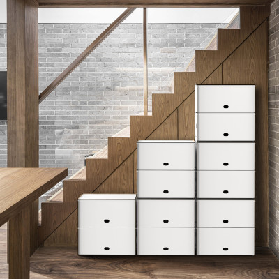 Einseitige Zweifache Fächer Box Jazz 40x40x40 cm | Weiß