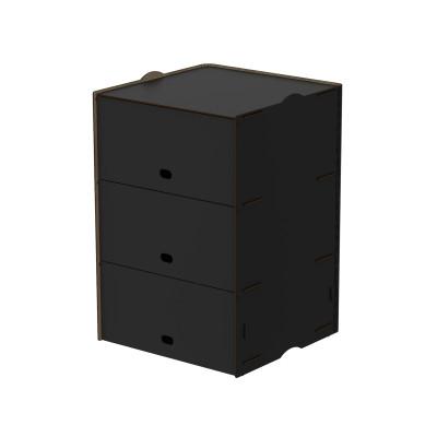 Einseitige Dreifachfächer Box Jazz 40x58.5x40 cm | Schwarz