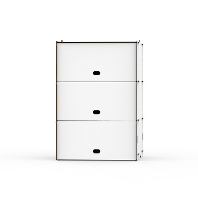 Einseitige Dreifachfächer Box Jazz 40x58.5x40 cm | Weiß