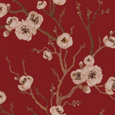 Wall Mural Japanese Floral | Red