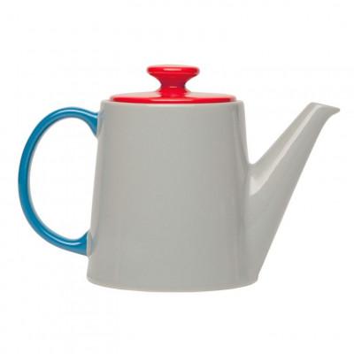My Tea Pot grey, red top, blue handle