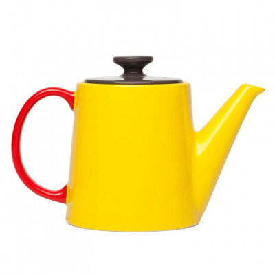 My Tea Pot yellow, anthracite top, red handle
