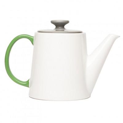 My Tea Pot white, grey top, green handle