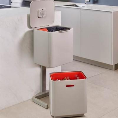 Intelligent Waste Bin Totem 60L | Off White / Red