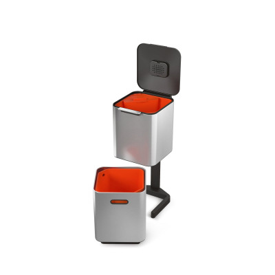 Intelligenter Abfallbehälter Totem 40L | Silber / Rot