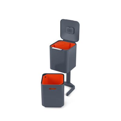 Intelligenter Abfallbehälter Totem 40L | Dunkelgrau / Rot