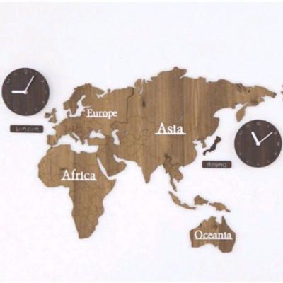 World Map & Wall Clock Set   Wooden & Brown