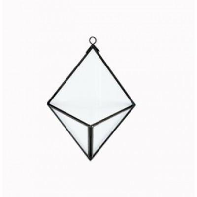Pflanzgefäß Diamant Karana   Antikschwarz an der Wand