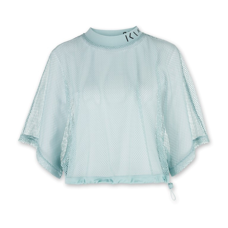 Damen-T-Shirt aus Mesh   Mintblau