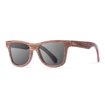 Sonnenbrille Washington   Schwarz + Dunkelbraun & Naturrahmen