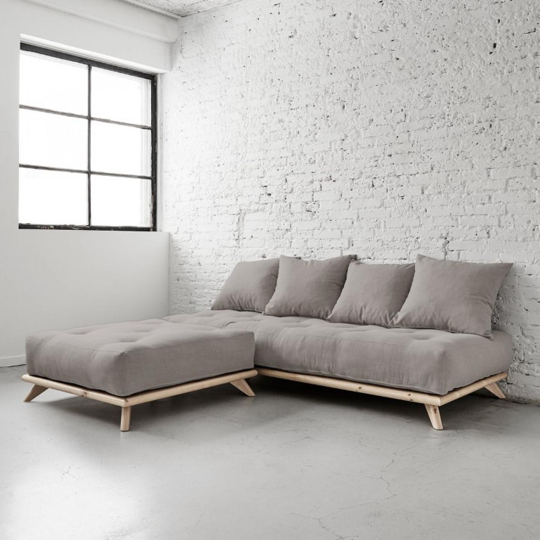 Pouf Senza | Natural Frame + Slate Grey Mattress