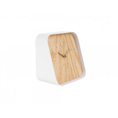 Tischuhr Squared | Weißer Stahl Helles Holz